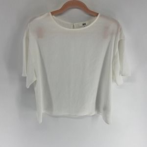 Uniqlo White Boxy Textured Short Sleeve Blouse